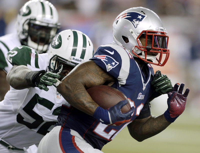 Patriots running back Stevan Ridley managed to put up just 40 yards on 16 carries against the New York Jets last Thursday.