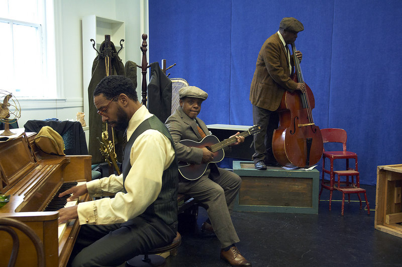 """Kevin T. Carroll, Harvy Blanks and Ray Anthony Thomas in the Portland Stage Company production of """"Ma Rainey's Black Bottom."""" The August Wilson play, starring Tina Fabrique in the title role, is set in 1927 Chicago during a recording session for Rainey, a blues singer."""