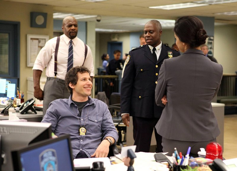 """This critic says """"Brooklyn Nine-Nine,"""" starring Andy Samberg, seated, and Andre Braugher, could be the best new comedy of the season."""