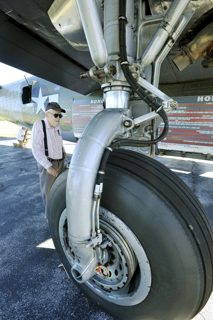 Richard Gale, who served on a B-24 Liberator, was among a handful of World War II veterans at the Portland Jetport Wednesday.