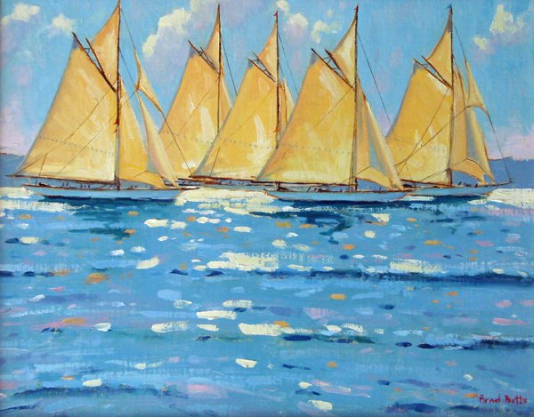 """""""Race Day,"""" oil by Brad Betts, from """"Boats and Harbors,"""" the new exhibition of his work continuing through Nov. 2 at Gleason Fine Art in Boothbay Harbor."""
