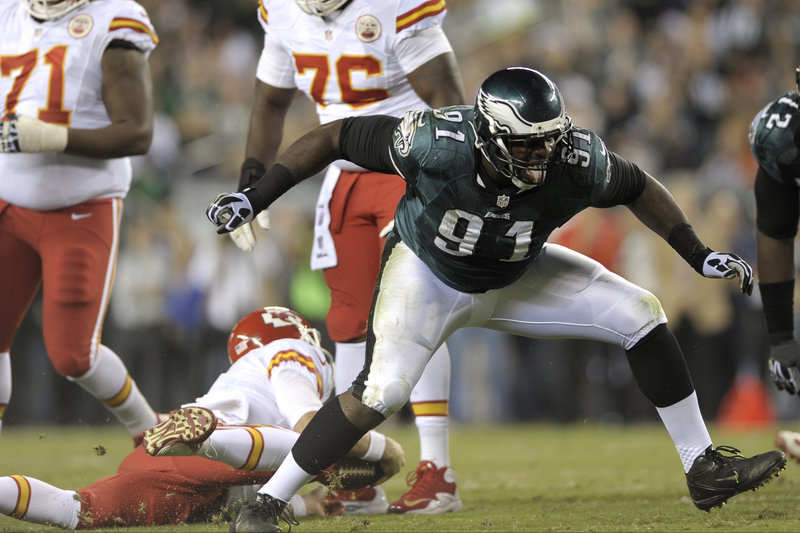Philadelphia's Fletcher Cox reacts after tackling Kansas City quarterback Alex Smith on Thursday night. Smith and the Chiefs had the last laugh, cruising to a 26-16 win.