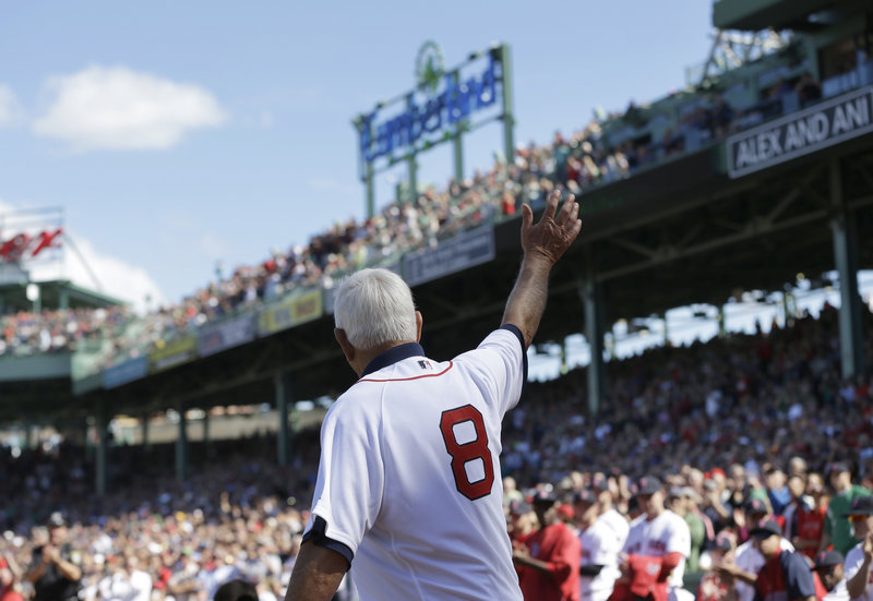 Living legend Carl Yastrzemski acknowledges the Fenway faithful prior to Sunday's game with Toronto, which was preceded by the unveiling of a statue depicting Yaz's final at-bat in September 1983.
