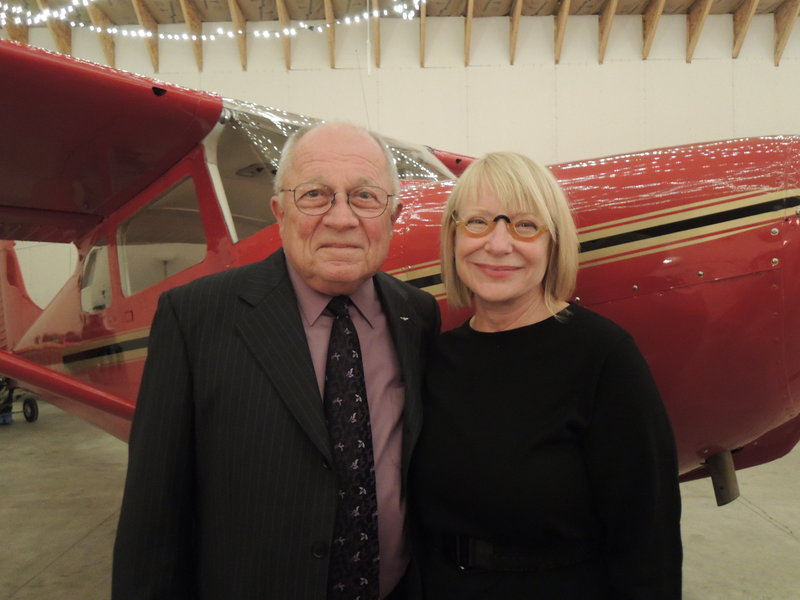 Defense attorney F. Lee Bailey and Debbie Elliot of Yarmouth at the Soar into Silver event for McAuley Residence.