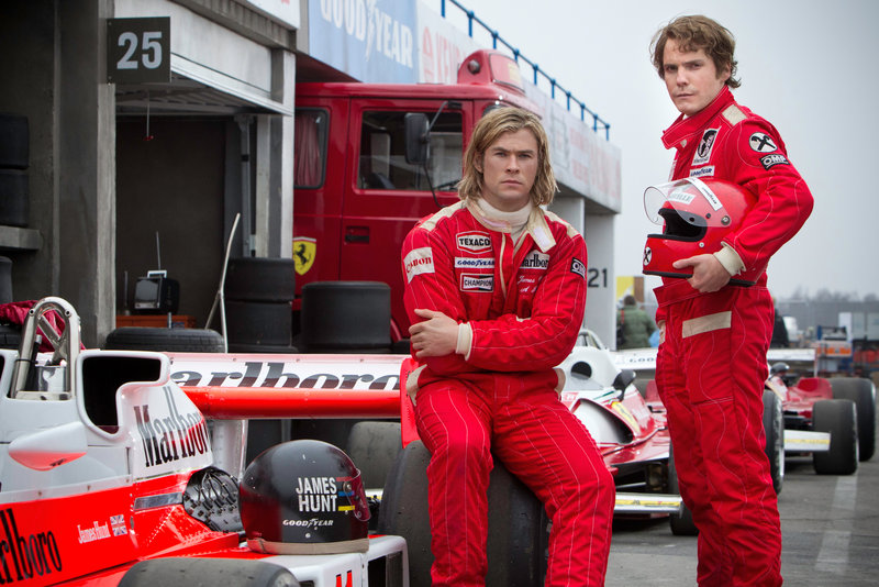 "Chris Hemsworth, left, and Daniel Bruhl in a scene from ""Rush."""