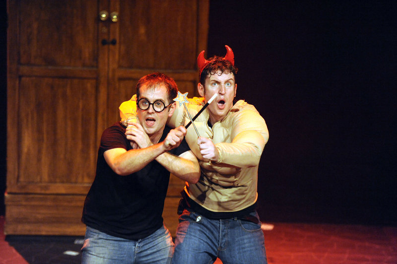 """""""Potted Potter – The Unauthorized Harry Experience – A Parody by Dan and Jeff"""" condenses all seven Harry Potter books (and a real-life game of Quidditch) into 70 frantically paced minutes. Starring Jefferson Turner, left, and Daniel Clarkson, """"Potted Potter"""" will be at Merrill Auditorium in Portland on Wednesday and Oct. 3."""