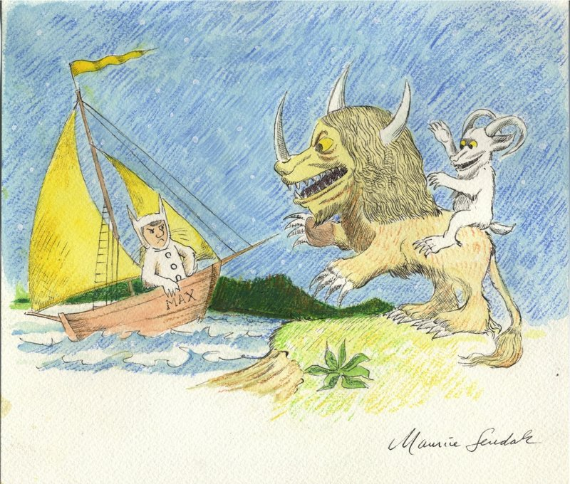 The wide-ranging Sendak show at the Portland Public Library features drawings, paintings, sketches, prints, etchings and an animated short film.