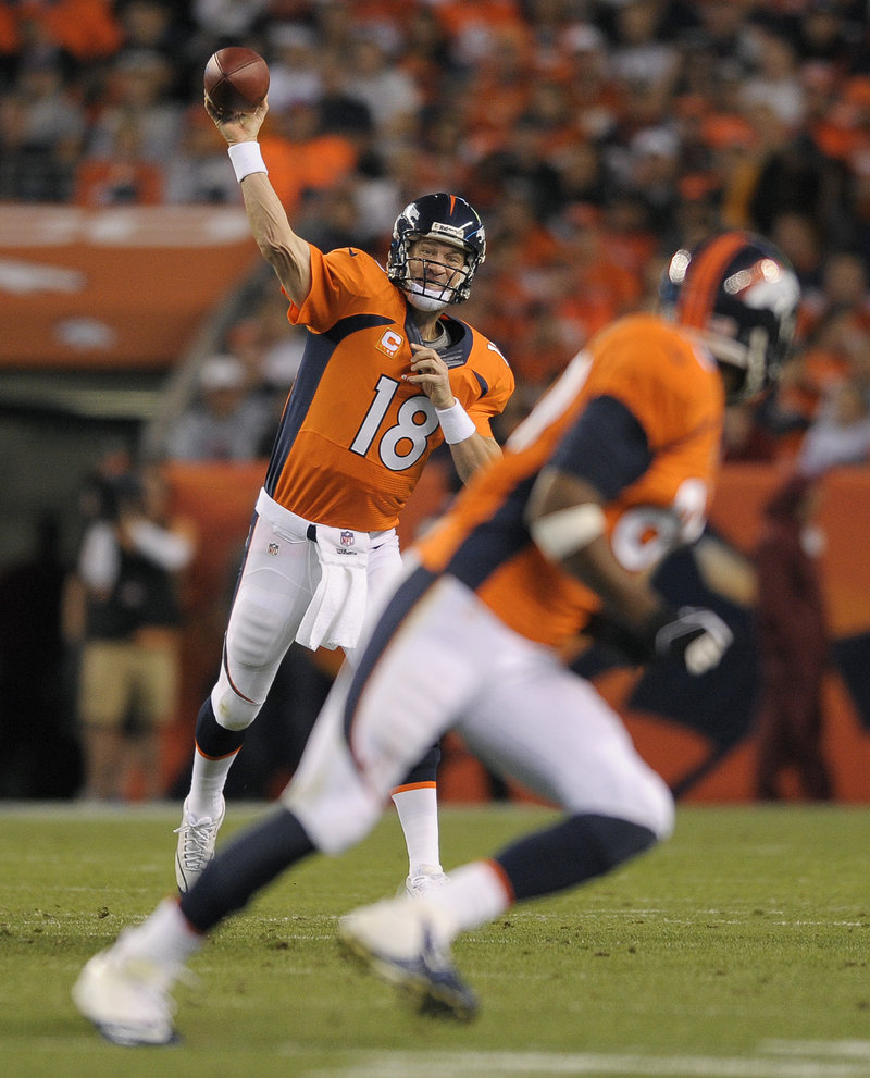 Peyton Manning, whose future was in doubt two years ago from a damaged nerve in his biceps, is directing a Denver Broncos offense averaging 42 points through three games.