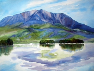 """Silent Grandeur"" is what Evelyn Dunphy named this depiction of Mt. Katahdin, which she's only painted from afar but where she feels an emotional connection."