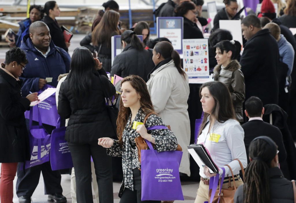 Job seekers attend a health care job fair in New York in March. Around 24,000 Mainers ages 16 to 24 are neither in school nor working, according to a study released Monday by the Opportunity Nation coalition. This bodes poorly for their finding a productive place in the community.