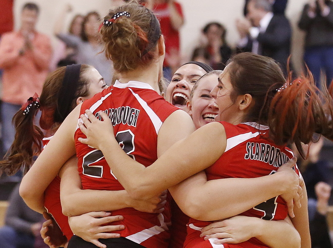 Scarborough was in the Class A volleyball final last season and will be there again Saturday after needing four games to put away Greely in the semifinals Wednesday night.