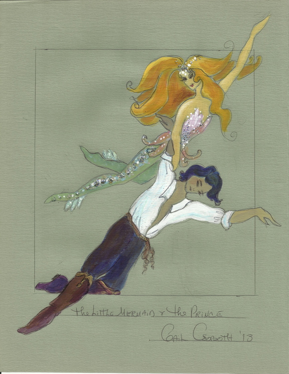 """Associate director Gail Csoboth's sketches for her costumes for """"The Little Mermaid."""""""