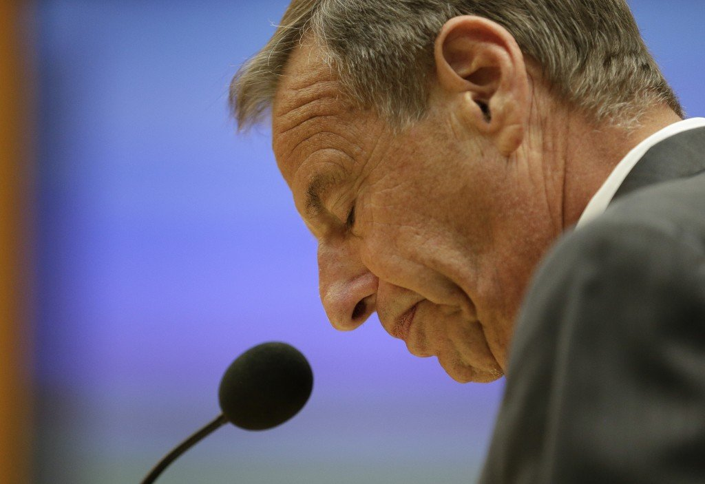 FILE - In this Friday, Aug. 23, 2013 file photo, San Diego Mayor Bob Filner speaks after agreeing to resign at a city council meeting in San Diego. The California attorney general's office has charged Filner with felony false imprisonment and two misdemeanor counts of battery. Filner, 71, resigned in late August, succumbing to intense pressure after at least 17 women brought lurid sexual harassment allegations against him.