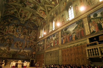 During high season some 20,000 people a day enter the intimate Sistine Chapel. Dust, humidity and carbon dioxide are dulling and discoloring Michelangelo's frescoed masterpiece.