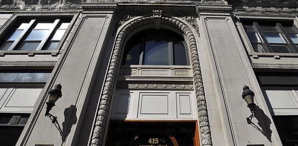 The outside of the Masonic Temple on Congress Street shows grand proportions but little hint of the magnificence inside.