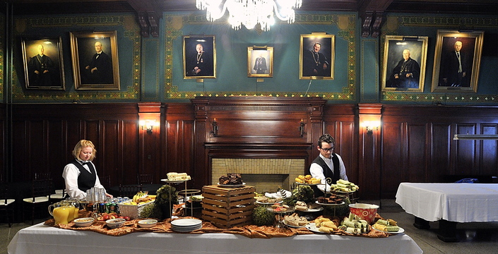 Employees of Blue Elephant Innovative Events & Catering set up the classic Scottish Rite Reading Room in the Masonic Temple for a function Friday. The room is one of many that are used to host events that bring in revenues.