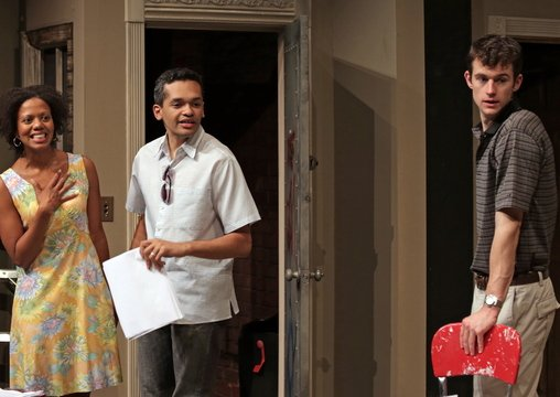 "Lena (Noelle LuSane), Kevin (Bari Robinson) and Tom (Lucas O'Neil) from Good Theater's production of ""Clybourne Park."""