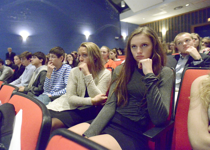 Addison Wood, right, and Mollie Thibodeau, both seniors, are among students in Cape Elizabeth High School's honors government class who listened as the Maine Supreme Judicial Court heard oral arguments.