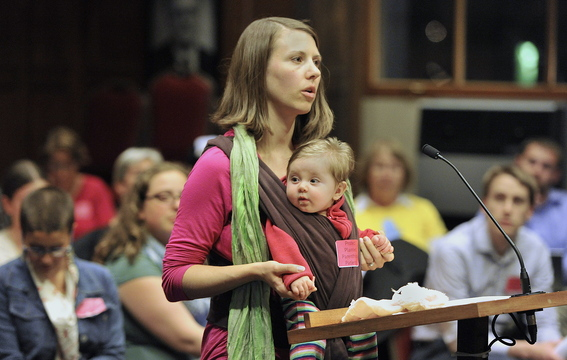Mandy Boger, who works at Planned Parenthood in Portland, speaks Tuesday night at City Hall in favor of a buffer zone.
