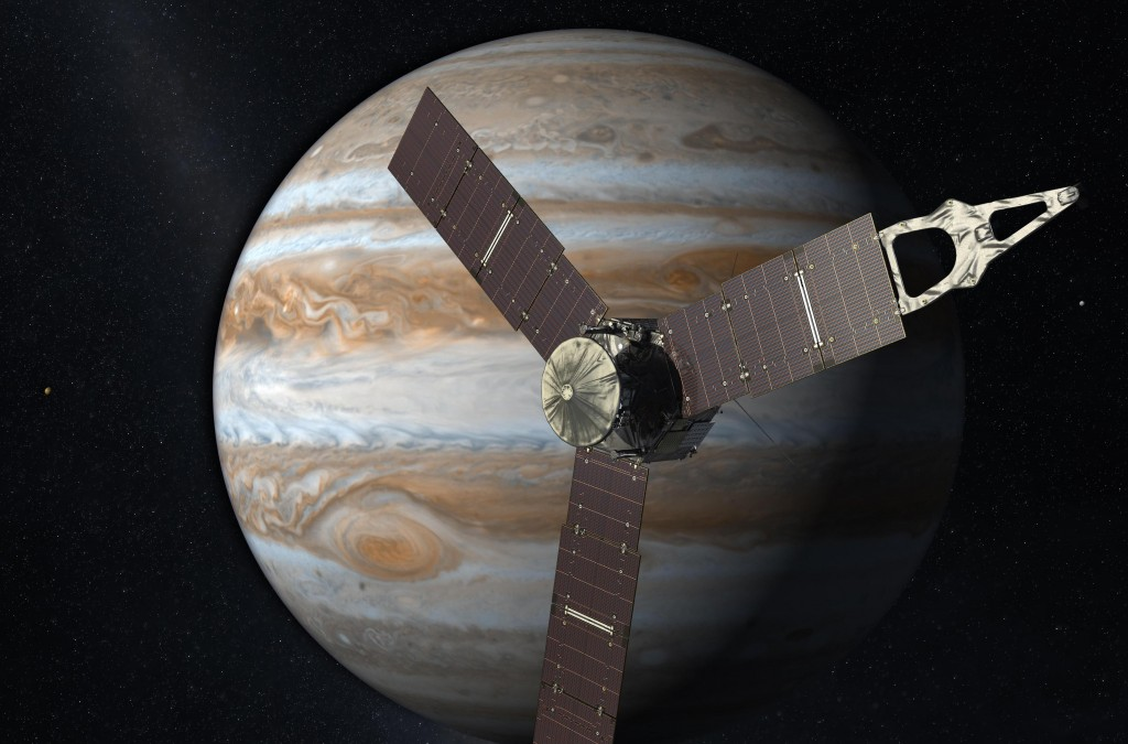 A 2010 artist's rendering depicts NASA's Juno spacecraft with Jupiter in the background.