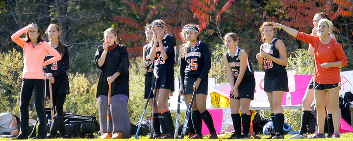 Biddeford's bench had a hard time watching the final second of their loss to Westbrook in field hockey Saturday.