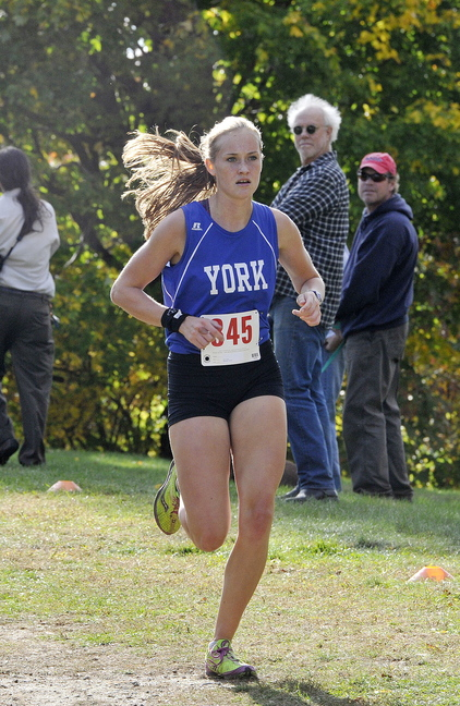 York's Heather Evans heads toward victory in the girls' race, with a winning time of 20:21.
