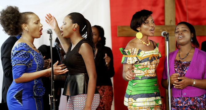 Members of Vessels of Praise sing during a recent Sunday service at the International Christian Fellowship's new church in Westbrook.