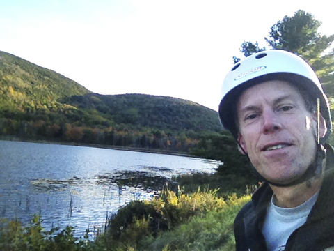 A self-portrait shows Staff Writer Glenn Jordan during his journey along the vehicle-free Park Loop Road in Acadia National Park on Thursday.