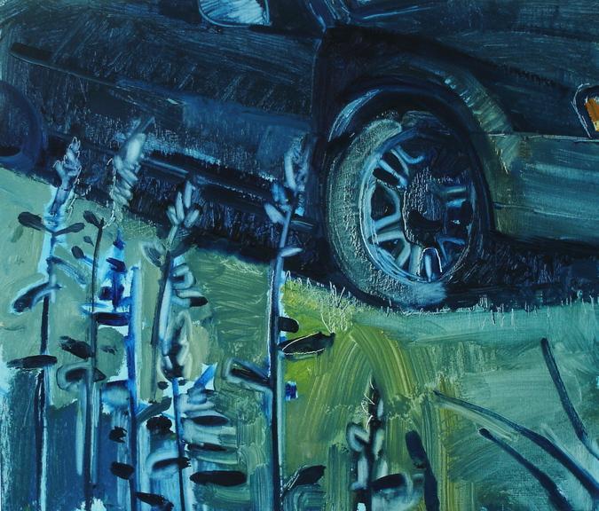 """Subaru with Hosta at NIght"" by Jeff Epstein."