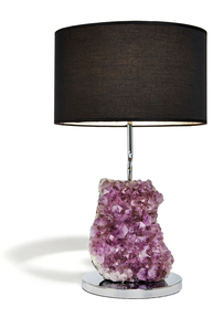 This RabLabs Cielo lamp has a pillar of amethyst crystals topped with a pretty shade. Amethyst is considered by some to be both calming and energizing.