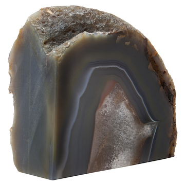 Agate is fashioned into bookends in keeping with the decor trend.