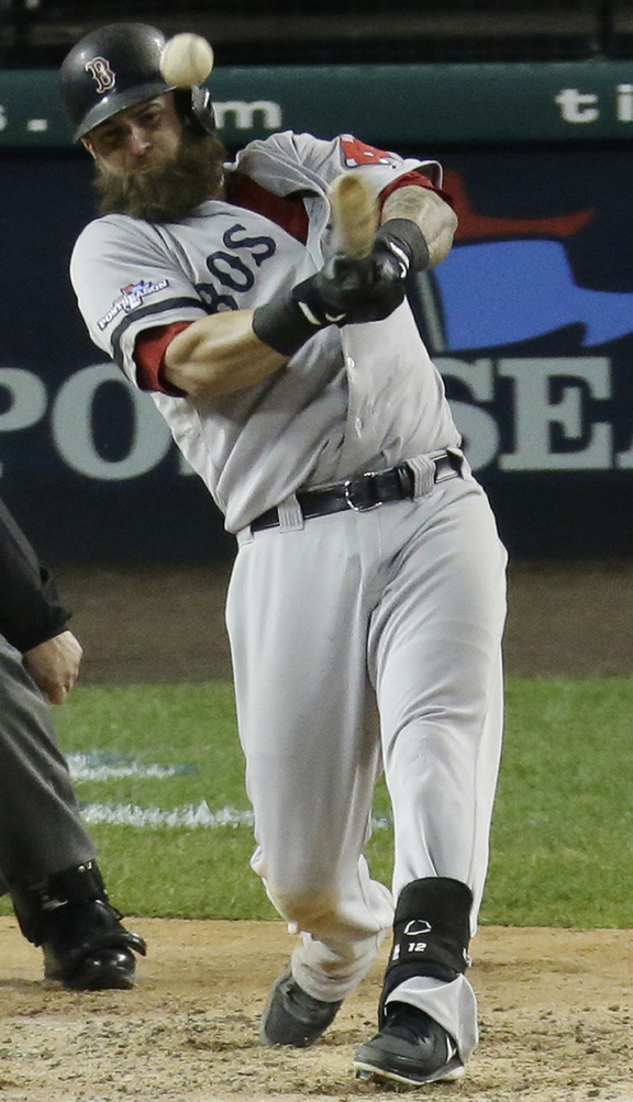 Boston Red Sox's Mike Napoli raps a single during Game 5 of the American League Championship Series against the Detroit Tigers on Thursday. Game 6 is Saturday at 8:07 p.m.