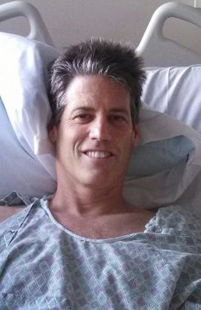 Jay Scrivner recovers at St. Joseph Hospital in Eureka, Calif. He was having a great day of surfing when a great white shark came out of nowhere and bit his thigh. Photo provided by Sunni Scrivner.