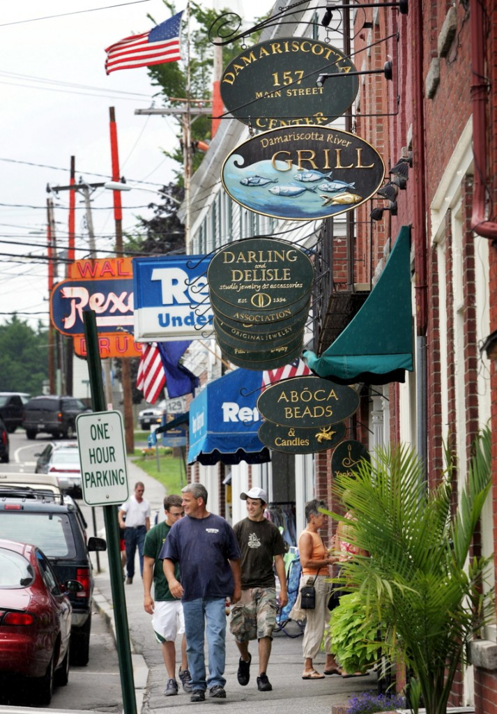 A furloughed federal employee says she'll miss shopping in downtown Damariscotta, above, but she and her partner couldn't afford their annual fall trip to Maine this year.