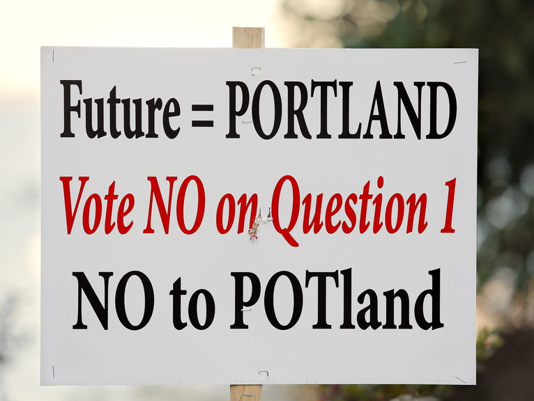 This sign on the Eastern Promenade, and others on Washington Avenue, take a stand against the Portland pot initiative.