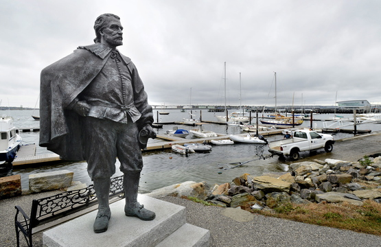 "City officials initially rejected this statue of George Cleeve, now on the waterfront, because of rumors he had owned a ""colored servant."""