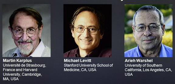 The Associated Press This screen image from a website shows the laureates Martin Karplus, Michael Levitt and Arieh Warshel as winners of the 2013 Nobel Prize in chemistry, announced by the Royal Swedish Academy of Sciences in Stockholm. The prize was awarded for laying the foundation for the computer models used to understand and predict chemical processes.