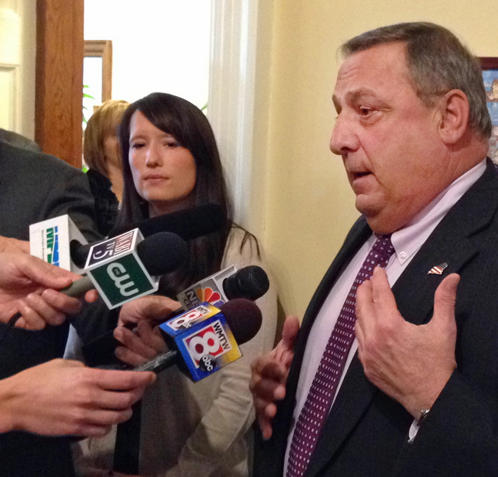 """Gov. LePage speaks to the media last Thursday after meeting with Democratic leaders at the State House to discuss his reasons for declaring a civil emergency. A reader says that the declaration gave Mainers """"something new to be embarrassed about."""""""