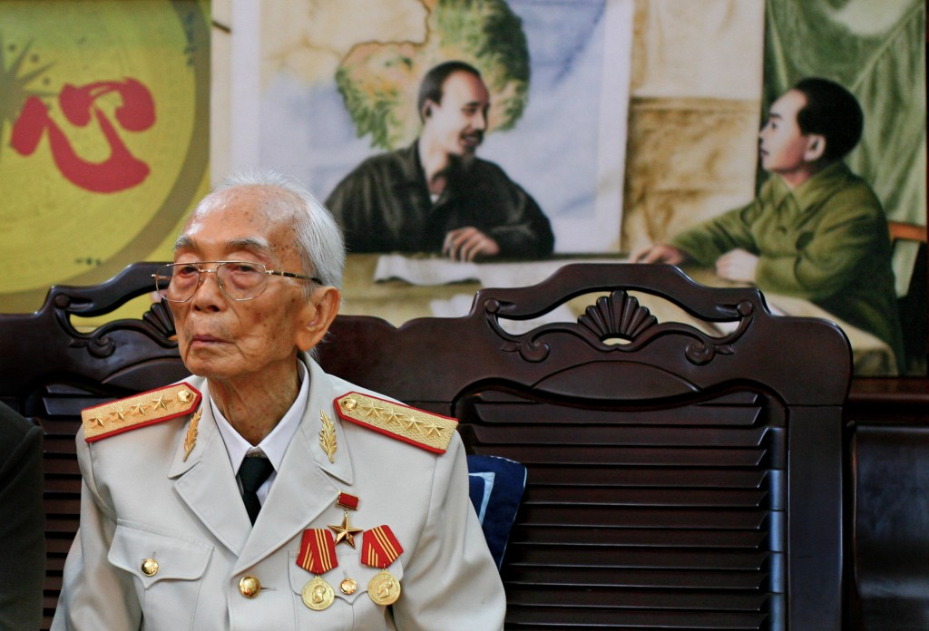 Vietnamese Gen. Vo Nguyen Giap, seen at home in Hanoi in 2008 on his 97th birthday, died Friday. He was the nemesis of South Vietnamese who fought alongside U.S. troops.