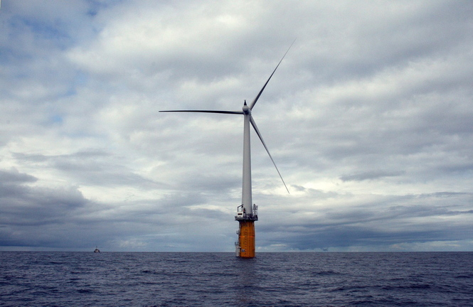 Statoil had planned to erect four floating wind turbines – similar to these producing power in the North Sea – off Boothbay Harbor.
