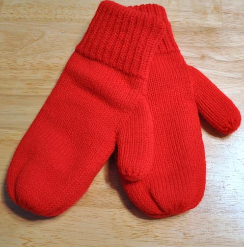 Hand-knit mittens from Three Kittens Knitting