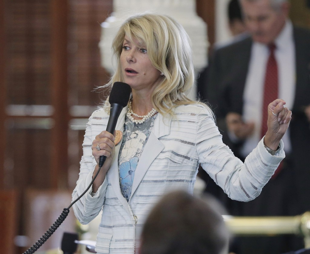 Sen. Wendy Davis, D-Fort Worth, is seen June 25 in Austin, Texas, as she begins a 13-hour filibuster over a new abortion bill – a speech that quickly gained her national attention.