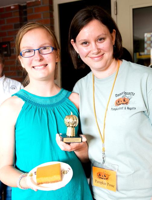 Damariscotta Pumpkinfest Dessert Contest first place winner Emma Goltz (left) with contest chair Heather Troidl.
