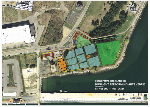 A concept plan shows the proposed South Portland Performing Arts Venue.