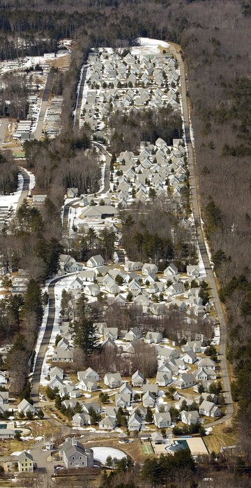 Gabe Souza/Staff Photographer: The Cottages at Summer Village in Wells are seen in this aerial photograph on March 15, as the town of Wells considered enacting a building moratorium on lodging rooms within 1,000 feet of Route 1.