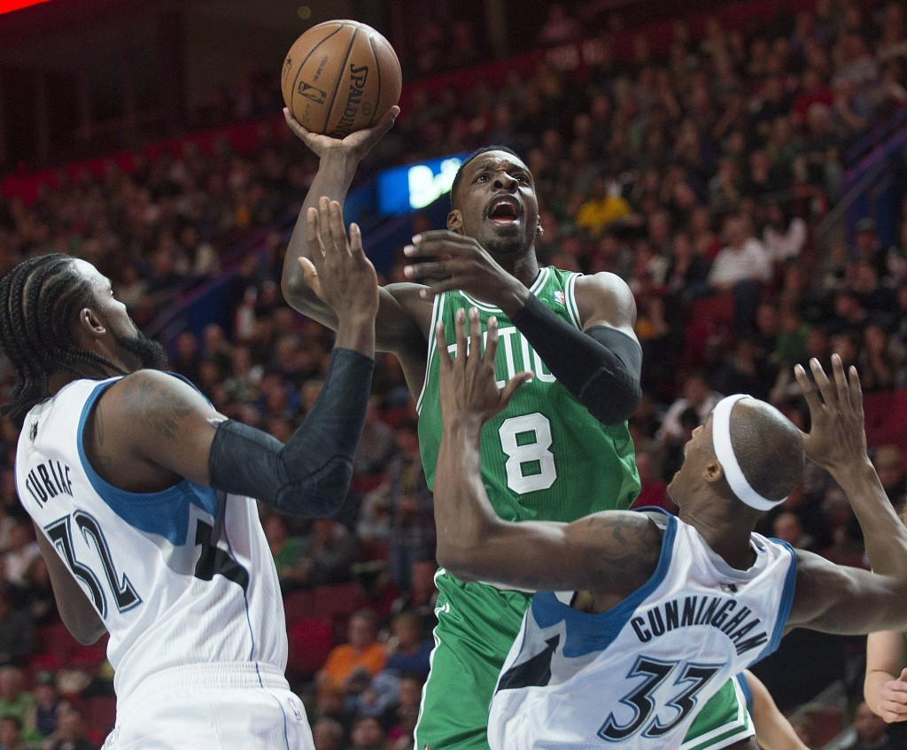 """With Paul Pierce and Kevin Garnett gone, Jeff Green, center, is one of the candidates who may have to become a go-to guy for Boston. """"I'm going to have to be a leader on this team,"""" Green said."""