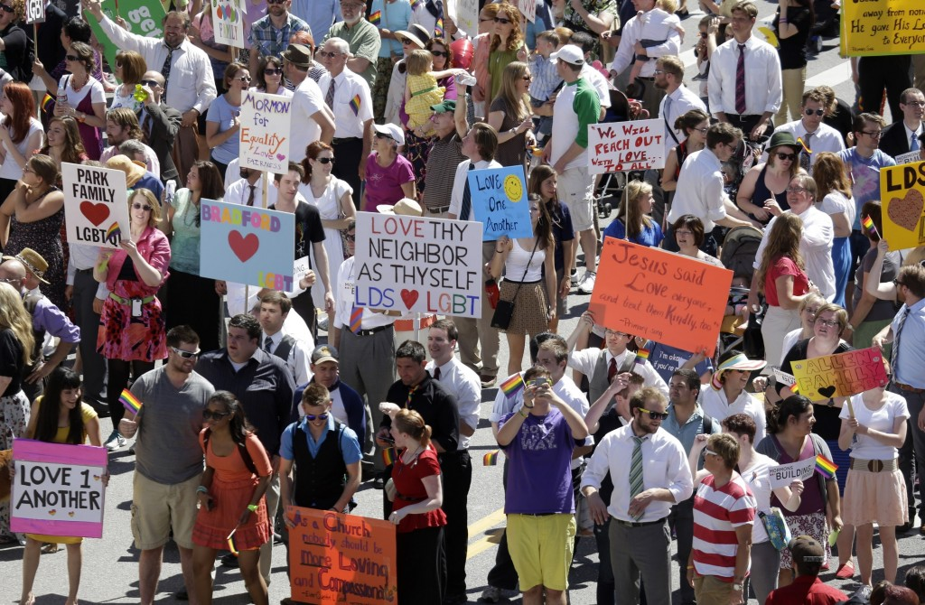 Members of the Mormons Building Bridges group march June 2 in the Utah Gay Pride Parade in Salt Lake City. The Mormon church was one of the leading forces behind California's Proposition 8, banning gay marriage, in 2008.
