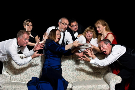 """The cast of the City Theater production of """"Rumors."""" """"I think it's Neil Simon's cleverest writing,"""" says artistic director Linda Sturdivant."""