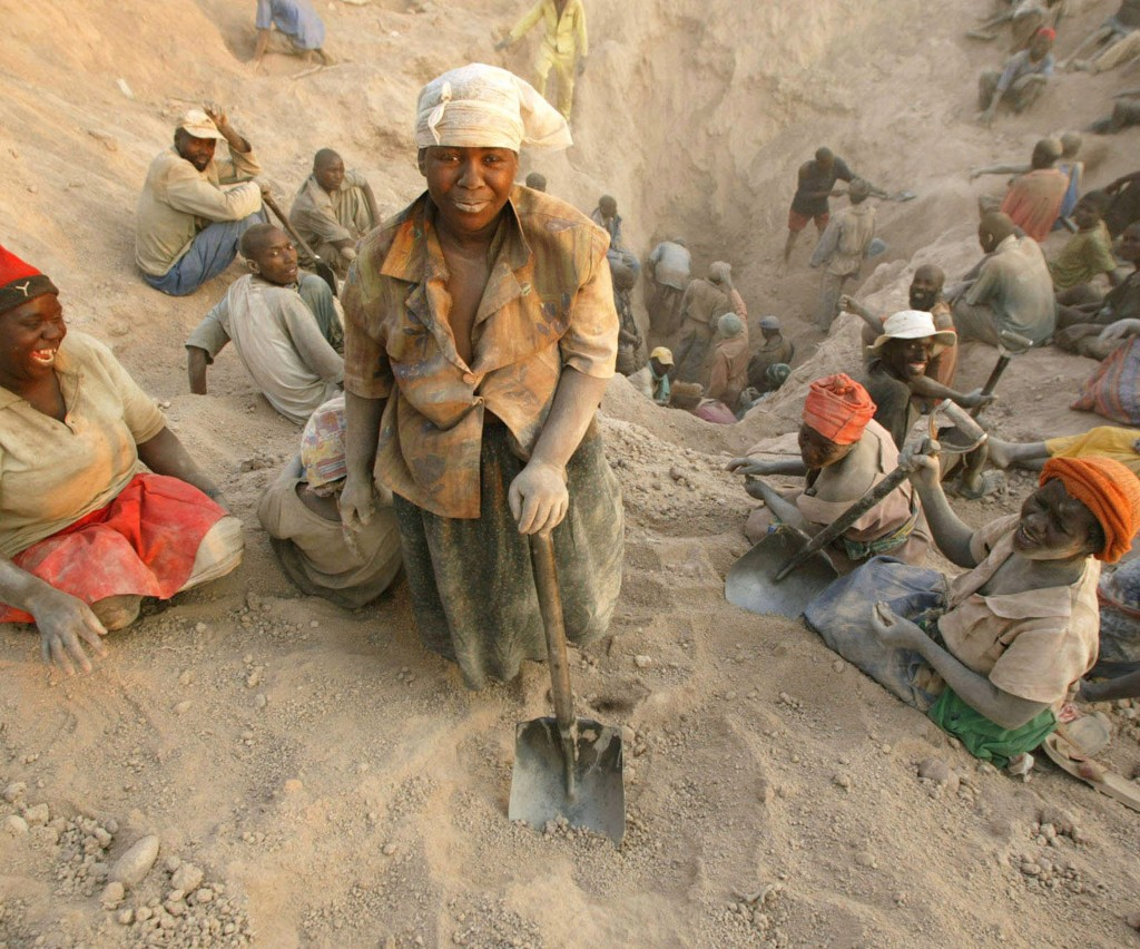 Gangs of illegal miners dig for diamonds in Marange, eastern Zimbabwe, in November 2006. The lucrative diamond field was exposed by an earth tremor earlier that year.