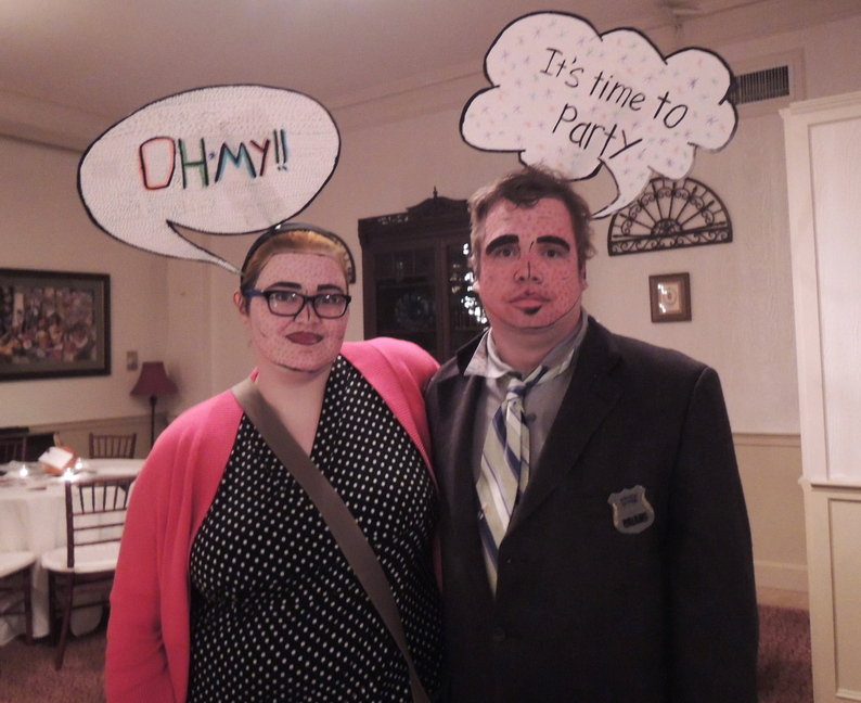 """""""We're pop art,"""" said """"Gumshoe"""" Adam Campbell, of Lewiston. His wife, Heather, got the costume idea from Pinterest."""